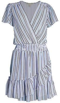 MICHAEL Michael Kors Striped Surplice Ruffle Dress