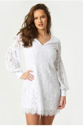 Little Mistress Fable White Lace Shift Dress