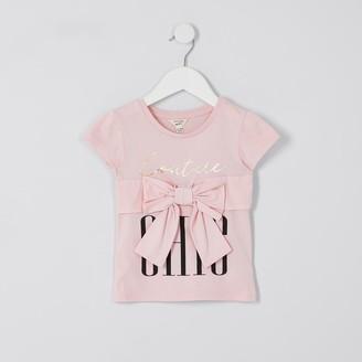 River Island Mini girls Pink bow trim t-shirt