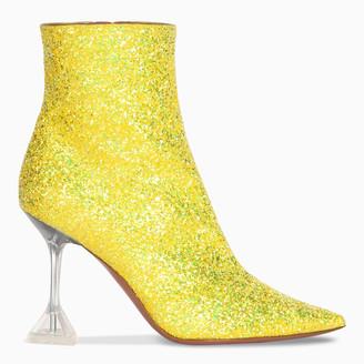 Amina Muaddi Yellow Giorgia glitter boots