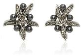 Oscar de la Renta Flower Pearl Button Earrings