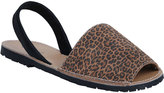 Yours Clothing Tan Real Leather Leopard Print Peep Toe Sandals In E Fit