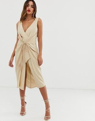 Asos DESIGN midi dress with rope tie waist detail