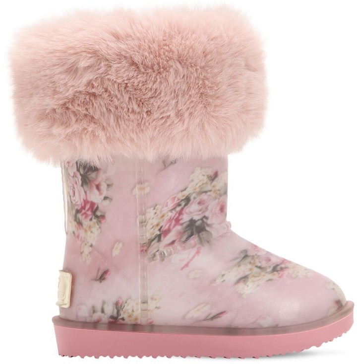 2c5dbaaa781 FLORAL RUBBER & FAUX FUR SNOW BOOTS