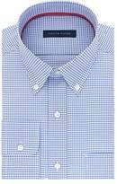 Tommy Hilfiger Men's Non Iron Regular Fit Mini Check Buttondown Collar Dress Shirt