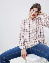 Esprit Collarless Check Blouse With Ruffle Hem