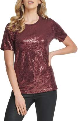 DKNY Foundation Sequin Short-Sleeve Crewneck Top
