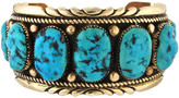 One Kings Lane Vintage 14K Gold & Turquoise Leekya Zuni Cuff