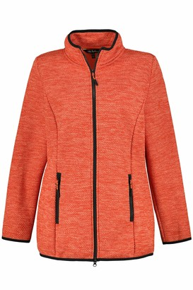 Ulla Popken Women's Plus Size Contrast Trim Sweater Knit Fleece Jacket Rose Coral 46+ 790615510-46+