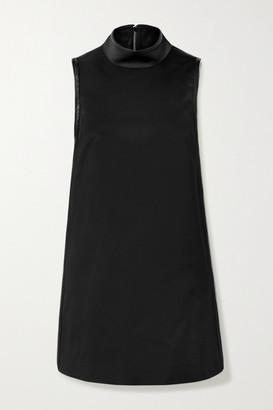 we11done Zip-embellished Faux Leather-trimmed Satin Mini Dress - Black