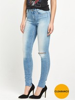 Replay Joi High Rise Rip Knee Skinny Jean - Mid Wash