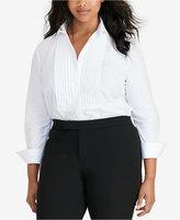 Lauren Ralph Lauren Plus Size Poplin Bib Shirt