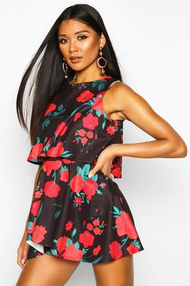 boohoo Floral Double Layer Playsuit Dress