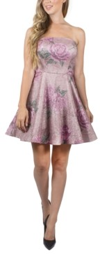 Crystal Doll Juniors' Strapless Floral-Print Dress