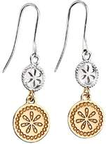 Element Sterling Silver Ladies' E3829 Double Disc Earrings with Gold Plated Detail