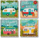 Highland Graphics Happy Campers Lifes a Journey Lets Go Adventure Tumbled Stone Coasters Set of 4
