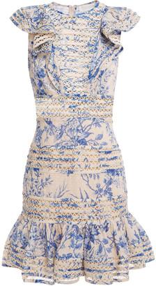 Zimmermann Ruffled Fil Coupe Floral-print Cotton-gauze Mini Dress
