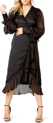 Bardot Whitney Tonal Stripe Long Sleeve Wrap Dress