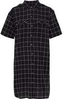 Current/Elliott The Workwear Plaid Cotton-Blend Mini Dress