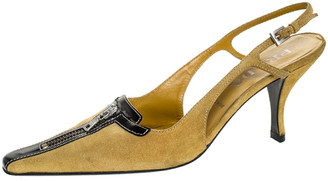 Prada Yellow Suede And Black Leather Zip Detail Pointed Toe Slingback Sandals Size 38