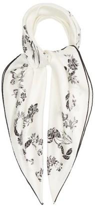 Alexander McQueen Floral Logo-print Silk-twill Scarf - White Black