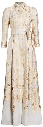 Teri Jon by Rickie Freeman Brocade Shirt Gown