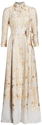 Teri Jon By Rickie Freeman Brocade Shirt Gown