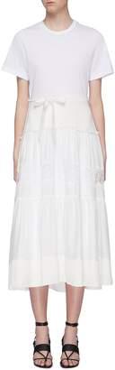 3.1 Phillip Lim Belted lace insert tiered skirt silk T-shirt dress