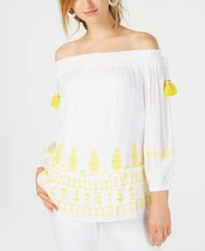 INC International Concepts I.n.c. Smocked Embroidered Off-The-Shoulder Top, Created for Macy's