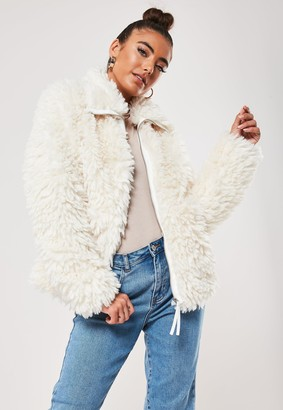 Missguided Petite White Borg Teddy Boxy Jacket
