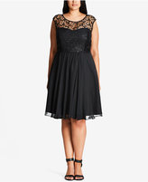 City Chic Trendy Plus Size Sequined Lace Fit & Flare Dress