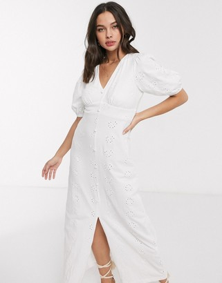 ASOS DESIGN broderie tea maxi dress with puff sleeve in white