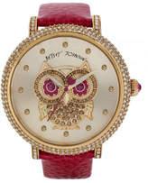 Betsey Johnson Womens Owl Motif Dial and Fuchsia Strap Watch Standard BJ0039606
