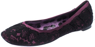 Dolce & Gabbana Black/Purple Lace and Satin Ballet Flats Size 39