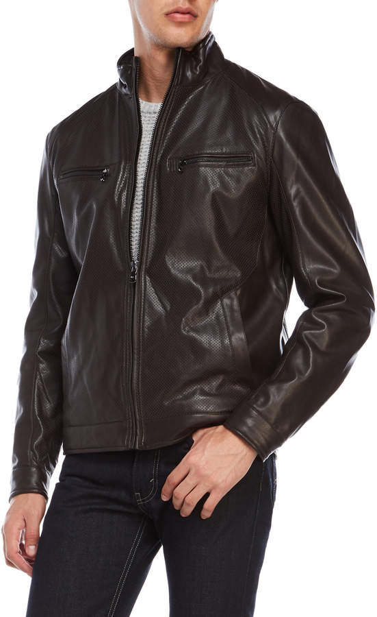 MICHAEL Michael Kors Perforated Faux Leather Jacket