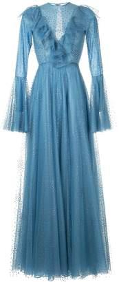 Costarellos ruffle sleeve tulle dress