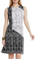 Vince Camuto Colorblock Graphic Print A-Line Dress (Petite)