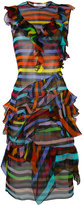 Givenchy striped ruffle shift dress - women - Silk - 38