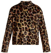 Ashish Leopard-print Sequined Top - Womens - Brown
