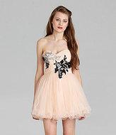 B. Darlin Strapless Floral-Applique Dress