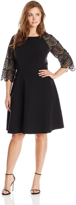 London Times Women's Plus-Size 3/4 Sleeve Lace Full Skirt Dress
