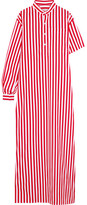 Balenciaga Striped Cotton-poplin Maxi Dress - Red