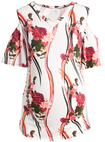 Glam Hello Miz Red & White Floral Ruched Maternity Cutout Top