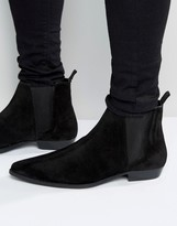 Asos Pointed Chelsea Boots In Black Suede