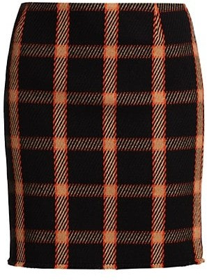 Akris Punto Check Wool Mini Skirt