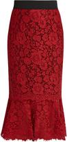 Dolce & Gabbana Cordonetto-lace fluted-hem pencil skirt