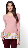 New York & Co. 7th Avenue - Scoopneck Twofer Sweater - Print