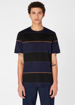 Paul Smith Men's Dark Navy Stripe Cotton T-Shirt With 'Artist Stripe' Trims