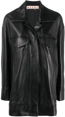 Marni Single Breasted Short Leather Coat