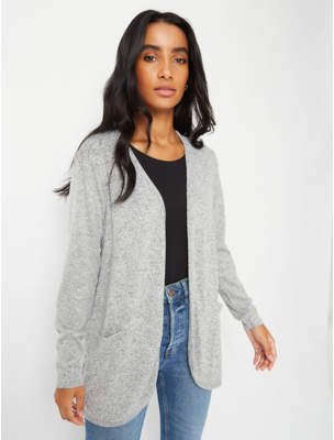George Grey Marl Soft Touch Open Front Cardigan